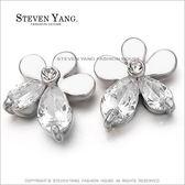 耳環STEVEN YANG正白K飾「花的姿態」耳針式 鋯石  甜美淑女款 *一對價格*
