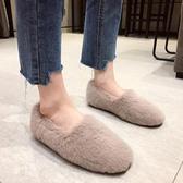 豆豆鞋 經典款!超火網紅加絨平底保暖棉鞋女冬外穿水貂毛毛鞋軟底豆豆鞋TB