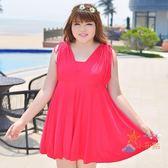 85折免運-泳裝特大尺碼泳裝女加肥加大300斤 大尺碼胖mm遮肚顯瘦正韓平角泳裝