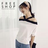 Free Shop 女款日韓風格性感縷空 撞色繞頸上衣飛鼠袖針織上衣可前後兩穿~QMDM9