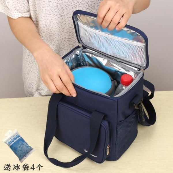 韓式加厚圓形飯盒袋大號便當包手提保溫桶袋子防水冷藏上班帶飯包 夢幻小鎮