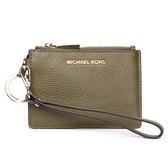 MICHAEL KORS Mercer金LOGO荔枝紋皮革證件零錢手拿包(橄欖綠)618099-18