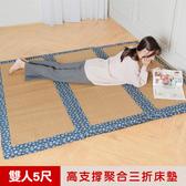 【凱蕾絲帝】冬夏兩用臻愛沁涼紙纖高支撐三折雙人記憶聚合床墊-5尺