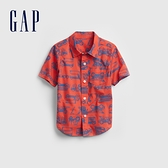 Gap男幼童 純棉短袖貼袋襯衫 740005-橙色印花