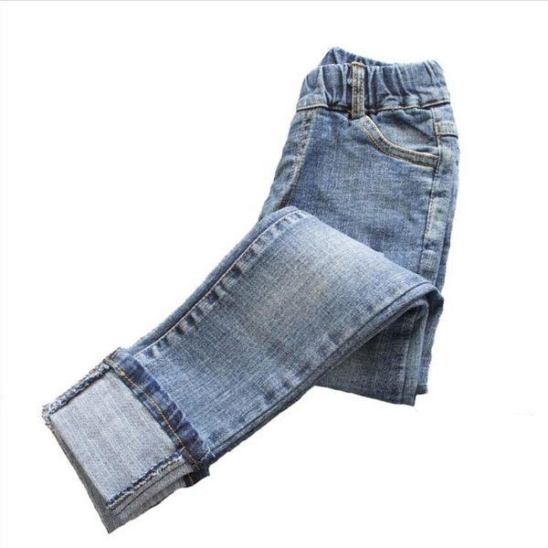 女童破洞牛仔長褲春秋款兒童彈力打底褲中大童小腳褲修身外穿褲子 桃園百貨