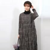 正韓 格紋寬鬆長款皺皺洋裝 (6493) 預購