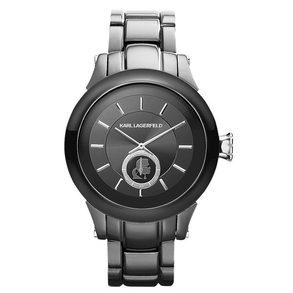 KARL LAGERFELD CHAIN系列鎖定目光時尚設計腕錶-深灰