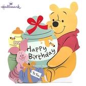 日本限定 迪士尼  小熊維尼&小豬  糖罐 音樂聲 生日卡片