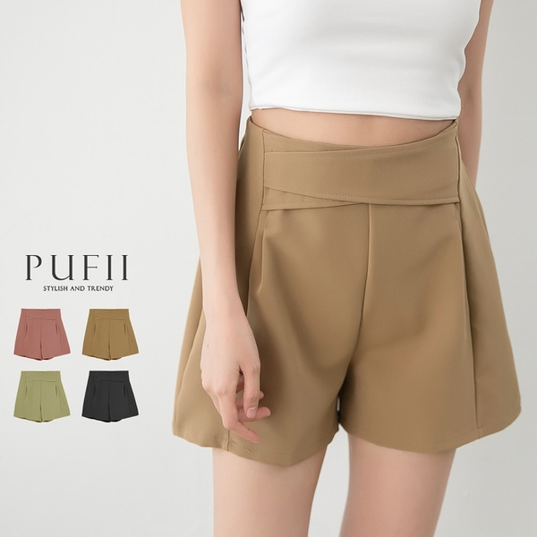 PUFII-褲裙 後鬆緊前壓褶短裙褲裙- 0427 現+預 春【CP20249】