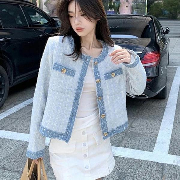 外套 长袖 百搭外套小香風外套女法式淺藍色時尚復古撞色粗花呢短上身NE68-A1 胖妞衣櫥