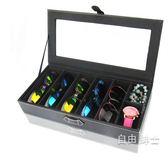 高檔PU皮眼鏡收納盒子5格太陽鏡展示盒多格墨鏡盒女正韓wy 1件免運
