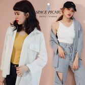 襯衫 Space Picnic|假口袋素面長袖襯衫(現貨)【C20033002】