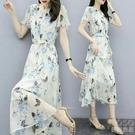 短袖洋裝 流行黃色雪紡連衣裙新款夏仙女超仙森系收腰顯瘦氣質碎花法式 快速出貨