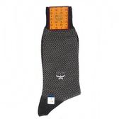 MCM 波浪紋刺繡LOGO紳士襪(黑色)980284