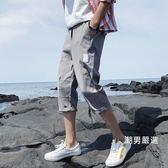七分褲 夏季七分褲男正韓潮男修身小腳學生百搭潮流bf休閒運動短褲子 M-3XL 5色
