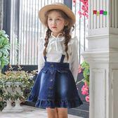 吊帶裙兒童背帶裙牛仔花邊背心裙全純棉 LQ3802『小美日記』