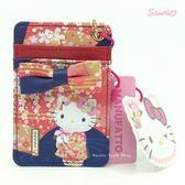 日本限定 凱蒂貓 HELLO KITTY x MANUFATTO 聯名款 珠鍊票卡夾 (櫻垂枝版)