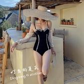 法式復古蕾絲袖連身泳衣女高端絲絨顯瘦泳裝吊帶聚攏溫泉【貼身日記】