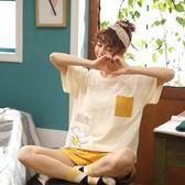 【預購款】居家服夏季新款睡衣套裝女短袖短褲甜美兩件套可外穿QT5504【時尚潮流部落】