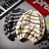 大碼情侶毛衣男女復古慵懶秋季條紋套頭針織衫【左岸男裝】