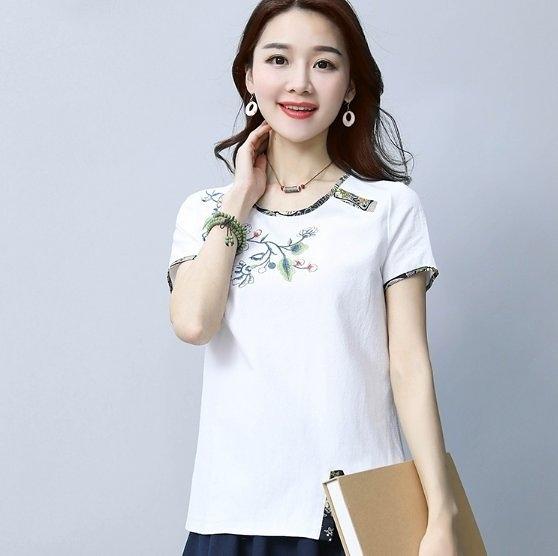 現貨白色2XL中大尺碼17605/圓領民族風繡花T恤短袖拼接上衣