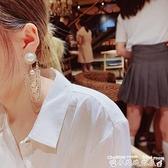 流蘇耳環s925銀針耳環女歐美風時尚夸張水鉆流蘇長款吊墜耳環高端氣質耳飾 迷你屋 新品