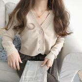 復古韓風V領高腰短款針織衫百搭純色修身長袖開衫外套女 糖果時尚