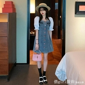 洋裝 牛仔連身裙女夏季2021新款設計感方領泡泡袖收腰顯瘦小個子短裙子 618購物節