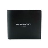 【台中米蘭站】全新品 GIVENCHY 品牌logo印字牛皮對開短夾(黑)