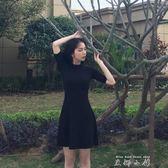 洋裝女夏sukol顯瘦中袖2018新款針織冷淡風裙子修身赫本小黑裙     米娜小鋪