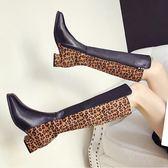 膝上靴-冬季新款復古英倫風短靴韓版方頭豹紋顯瘦時尚粗跟高筒靴女潮