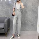 吊帶褲夏季新款韓版寬鬆減齡顯瘦純灰色休閒褲潮「草莓妞妞」