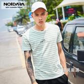 全館一件88折-條紋T恤夏裝新品T恤男韓版藍白條紋圓領短袖男士字母刺繡體恤M-3XL2色