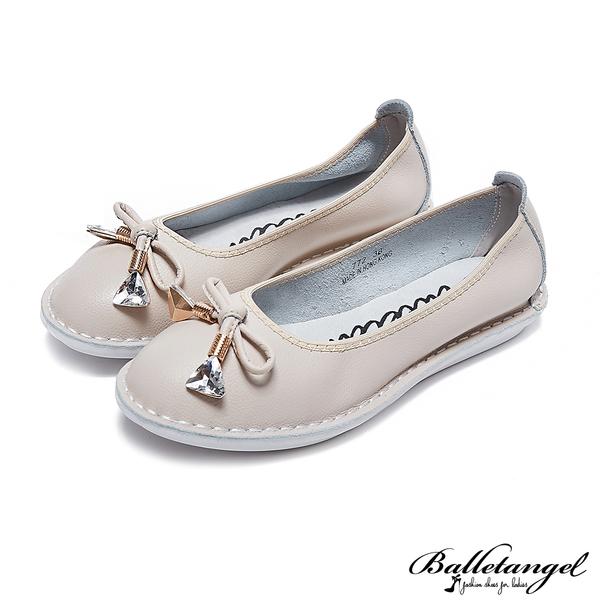 娃娃鞋 輕甜蝴蝶結軟Q牛皮娃娃鞋(米)*BalletAngel【18-772mi】【現貨】