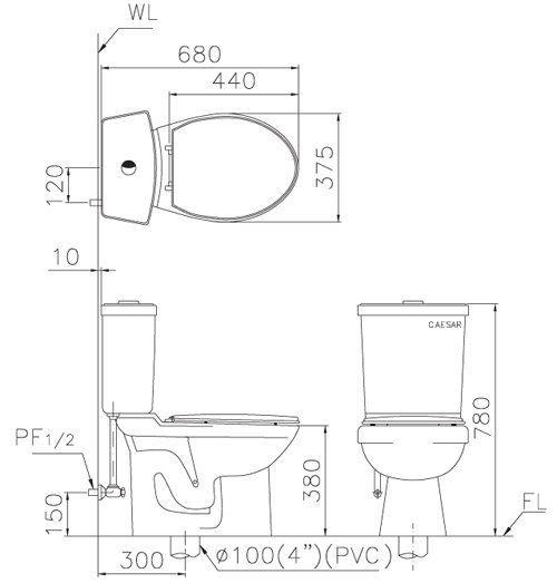 凱撒 CF1325 (30CM)/ CF1425 (40CM) 二段式省水馬桶 可選配MS220/緩降馬桶蓋 TAF210/電腦馬桶座 [區域限制]