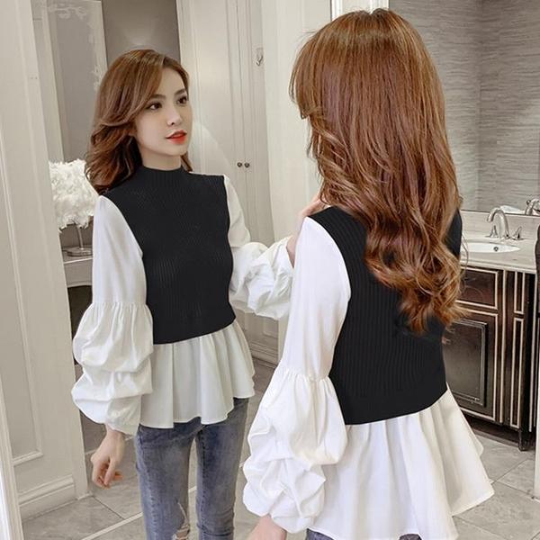 限時特價 秋季新款韓版假兩件襯衫女修身顯瘦燈籠長袖百搭拼接針織上衣