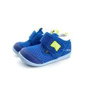 小童 日本月星 MOONSTAR 魔鬼氈 透氣運動鞋學步鞋 《7+1童鞋》B499 藍色