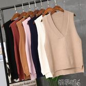 針織馬甲馬甲女冬短款韓版學生學院風秋裝女新款針織V領上衣背心馬夾 嬡孕哺