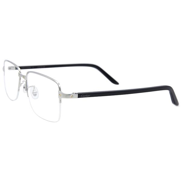 Cartier 卡地亞 CT0217OA 004 (銀-黑) 復古 半框 近視眼鏡 久必大眼鏡