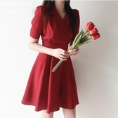 洋裝 復古襯衫裙西裝領繫帶A字連身裙