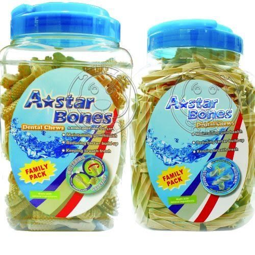【 ZOO寵物樂園】A-starBones》勁涼雙頭牙刷潔牙骨‧SS家庭號320入
