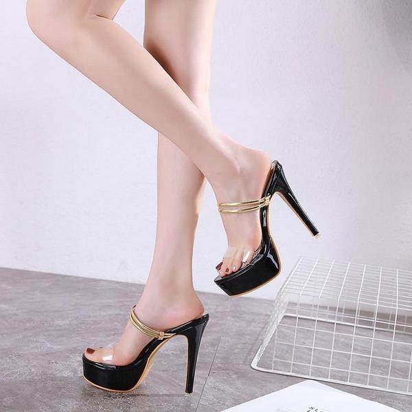 促銷九折 速賣通 Sky-high shoes 涼鞋兩穿新款氣質OL高跟涼鞋顯白