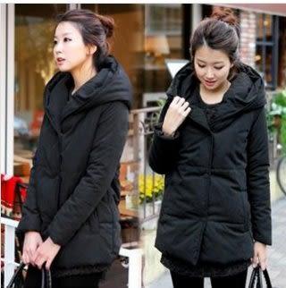 現貨黑色S實物是沒有拉鏈的中長連帽羽絨棉襖風衣外套L-3XL中大尺碼13344/棉衣外套韓版中長款棉服