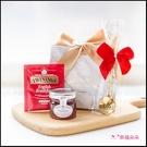 簡約精緻小禮袋-唐寧茶包+英國果醬+玫瑰湯匙(金色緞帶+白大理石紋) 生日禮物 交換禮物 Tiptree