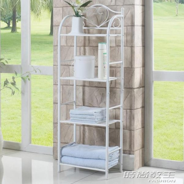 小層架 浴室落地置物架長35寬21高106cm 陽台四層架金屬白色小花架收納架YYP