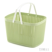 手提購物籃子收納掛籃浴室洗浴筐桌面收納筐塑料大號菜籃家用 yu4403【艾菲爾女王】