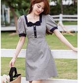 韓式高腰方領蝴蝶結格紋青春洋裝[99186-QF]小三衣藏