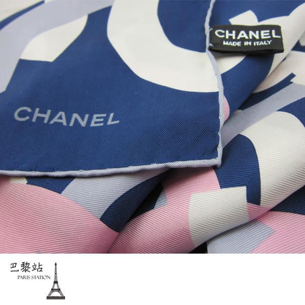 【巴黎站二手名牌專賣店】*全新現貨*CHANEL香奈兒 真品* 大雙C logo 藍粉絲巾