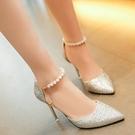 恨天高結婚水晶性感細帶5釐米甜美單鞋扣帶...