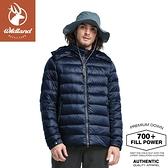 【Wildland 荒野 男 700FP 可回溯羽絨外套《深藍》】0A82102/輕羽絨外套/保暖外套/連帽外套